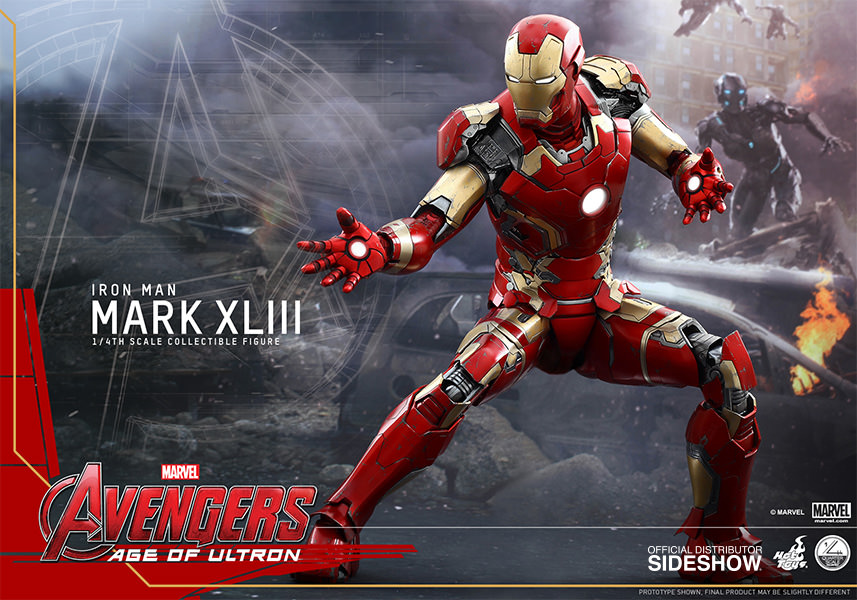 Iron Man Mark XLIII 43 - Quarter Scale Figur 1/4 - Avengers Age of Ultron  ca 49 cm Hot Toys